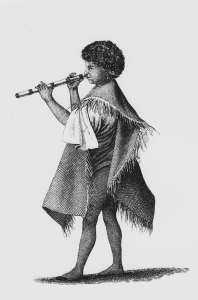 Tahiti: Vivo nose flute played by the lad  Taiota, servant of Tupaia, Cook's Tahitian interpreter.