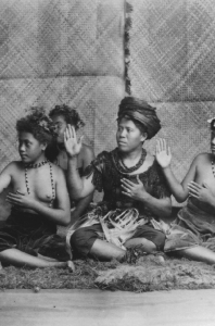 Samoa: Turn of the century early photograph of a possible ula dance.
