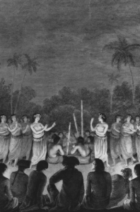 Tonga: A women's night dance from Ha'apai, accompanied by part singing and a group of three men playing graduated stamping tubes, seen by Cook during his third voyage, and demonstrating traits  that may well have been acquired from Lapita potters.